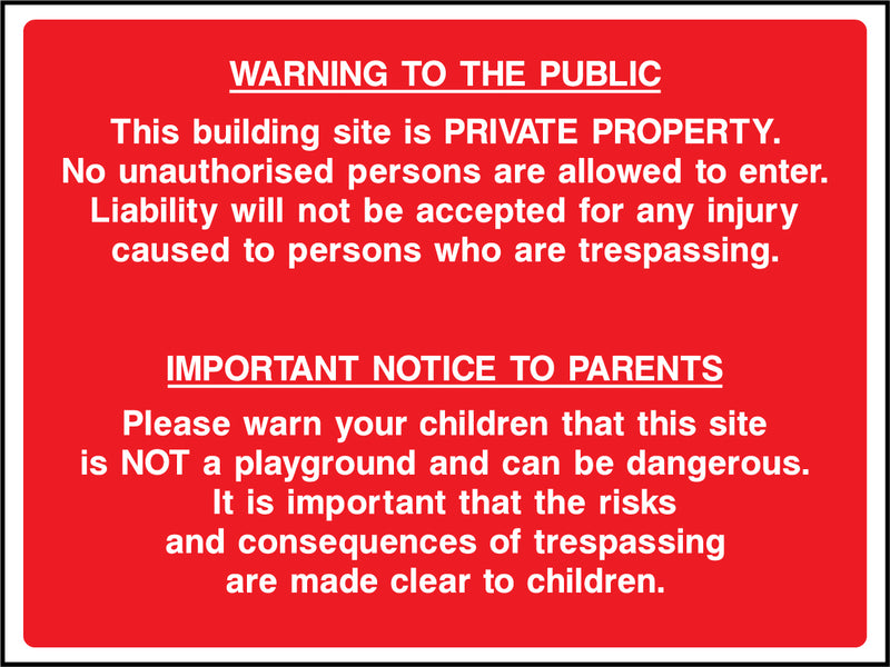 """Warning to the public, private property, notice to parents regarding children"" Sign"