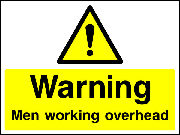 """Warning. Men working overhead."" Sign"