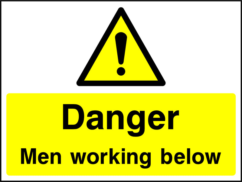 """Danger. Men working below."" Sign"