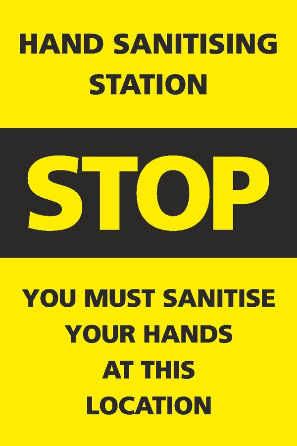 Yellow & Black Hand Sanitising Station Sign