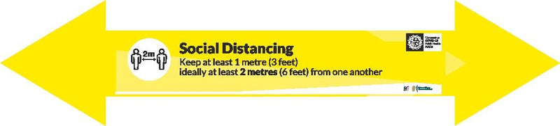 Social Distancing 2 Metres Long Arrow Floor Sticker