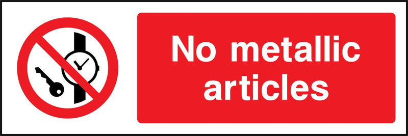 No metallic articles. Sign