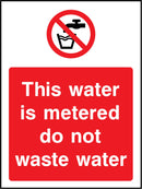 This water is not metered do not waste water. Sign
