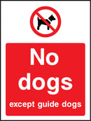 No dogs. Except guide dogs. Sign