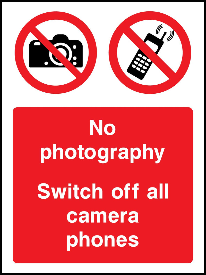 No photography. Switch off all camera phones. Sign