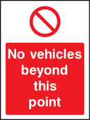 No vehicle beyond this point. Sign