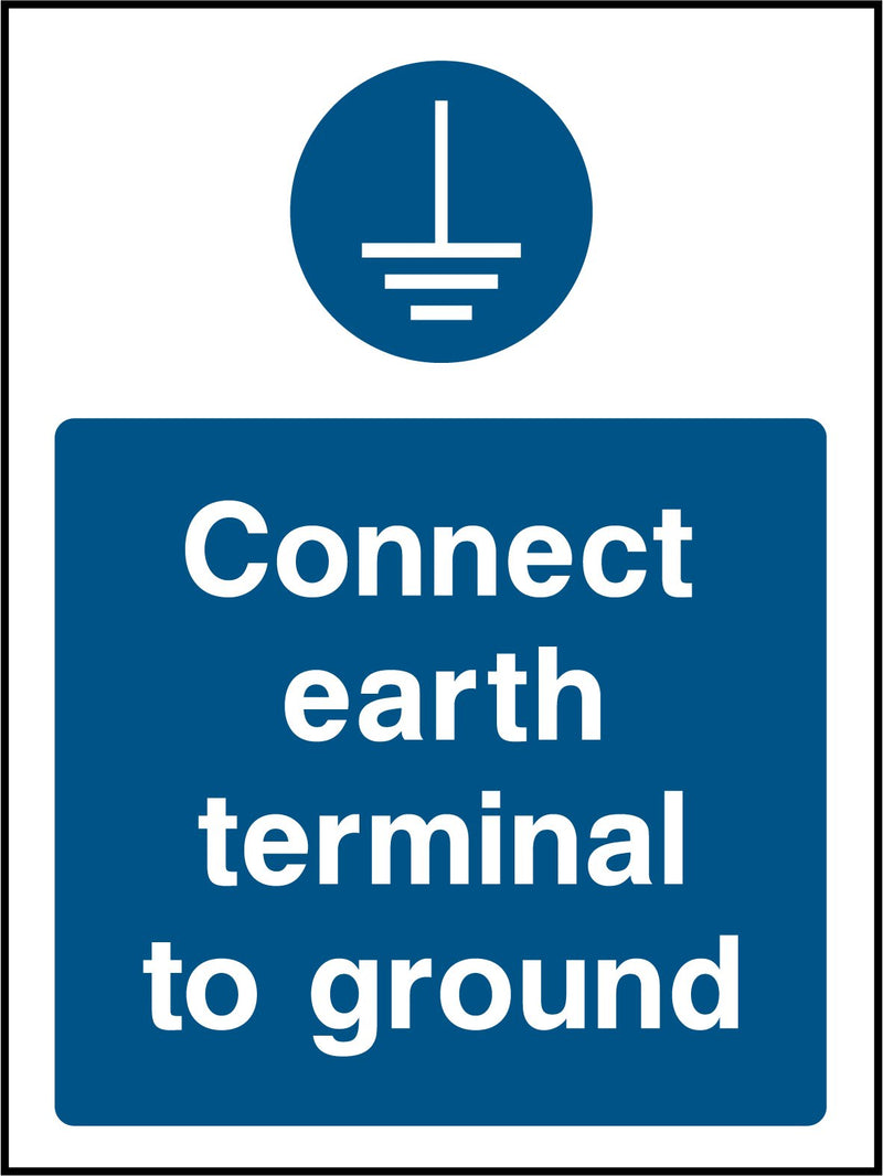 """Connect earth terminal to ground."" Sign"