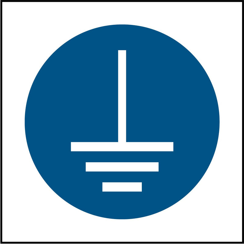 """Connect earth terminal to ground symbol."" Sign"