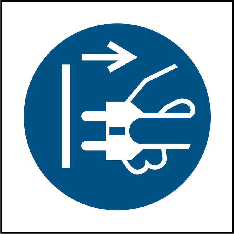 """Disconnect mains plug from electrical outlet symbol."" Sign"