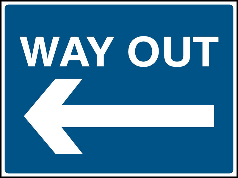 WAY OUT. Arrow Left. Sign