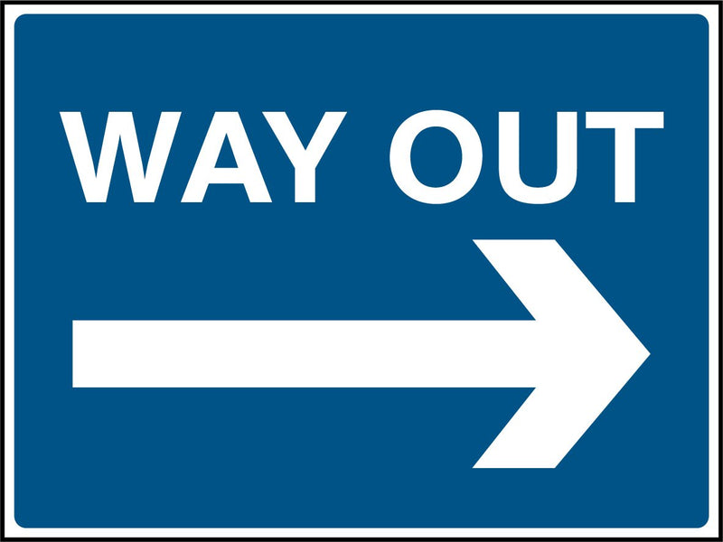 WAY OUT. Arrow Right. Sign