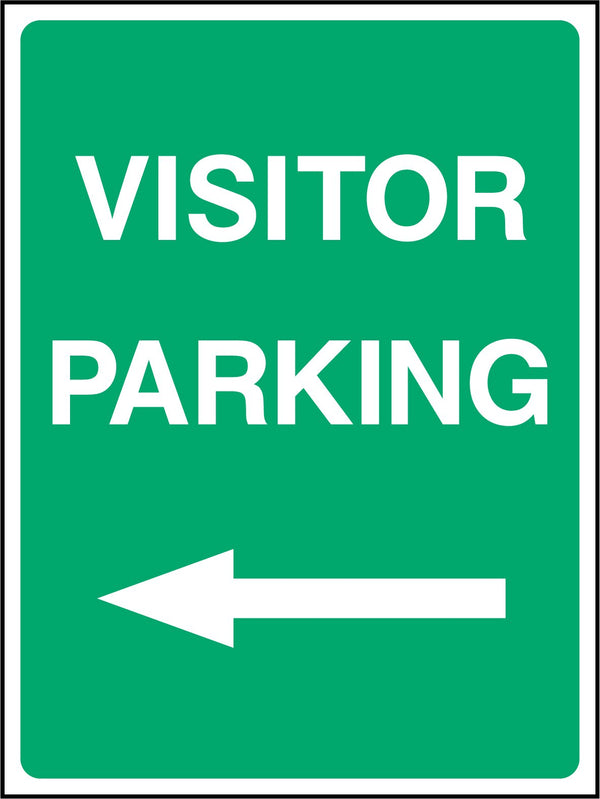 VISITOR PARKING. ARROW LEFT. Sign