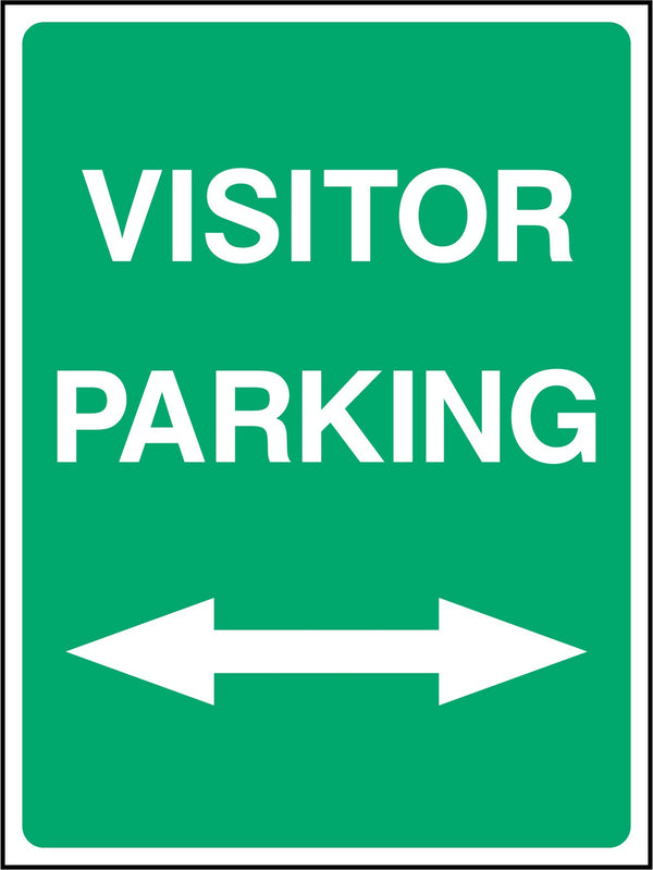 VISITOR PARKING. ARROWS LEFT & RIGHT. Sign