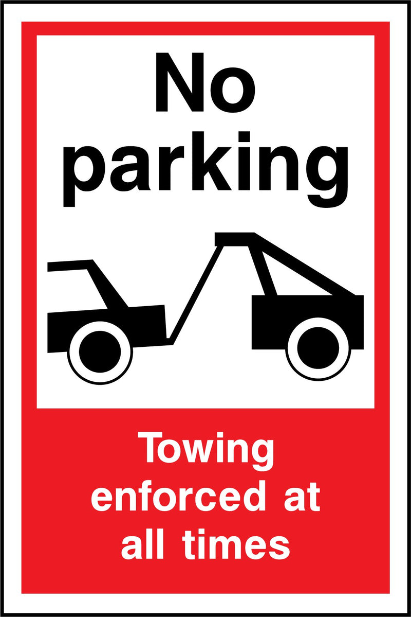 No parking. Towing enforced at all times. Sign