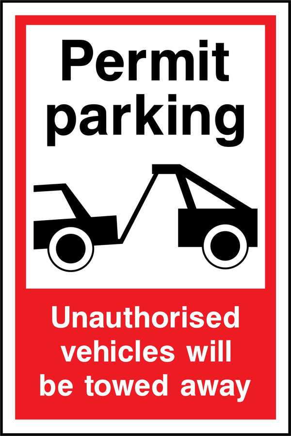 Permit parking. Unauthorised vehicles will be towed away. Sign