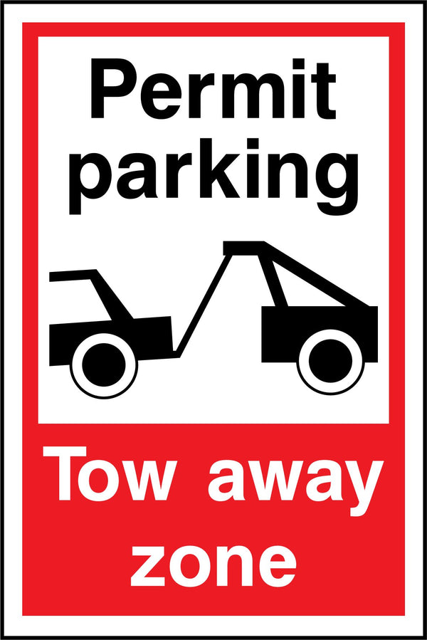 Permit parking. Tow away zone. Sign