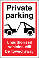 Private parking. Unauthorised vehicles will be towed away. Sign