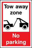 Tow away zone. No parking. Sign
