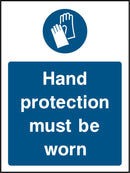 Hand protection must be worn. Sign