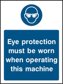 Eye protection must be worn when operating this machine. Sign