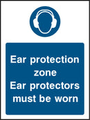 Ear protection zone. Ear protectors must be worn. Sign