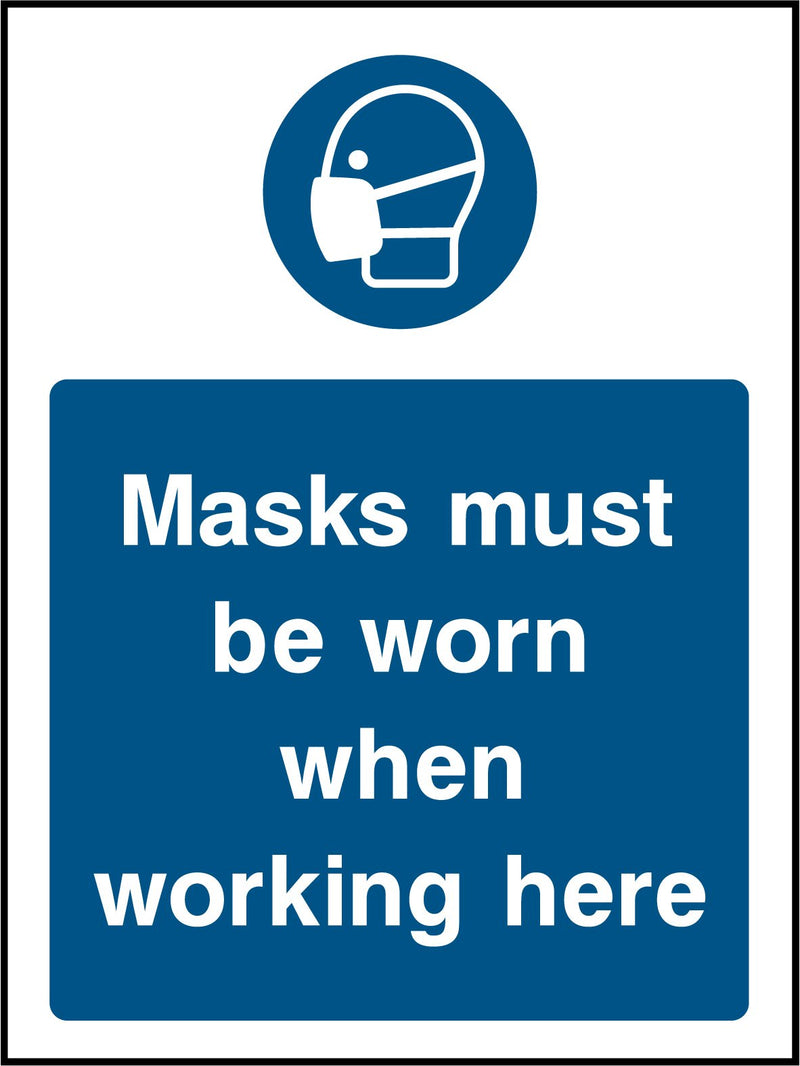 Masks must be worn when working here. Sign