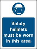 Safety helmets must be worn in this area. Sign
