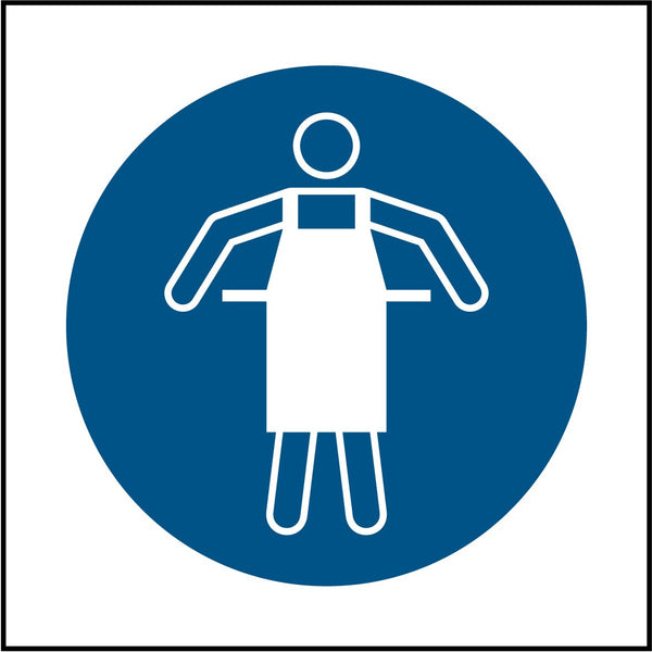 Use protective apron symbol. Sign