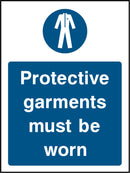 Protective garments must be worn. Sign