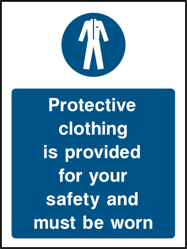 Protective clothing is provided for your safety and must be worn. Sign