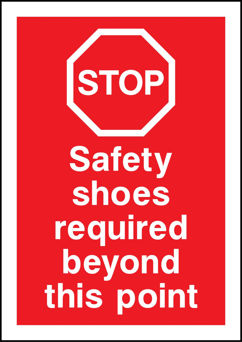 Safety shoes required beyond this point. Sign