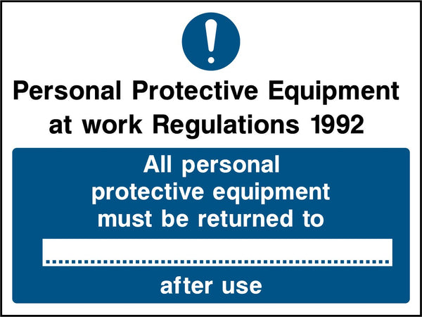 Personal Protective Equipment at work Regulations 1992. All personal protective equipment must be returned to ... after use. Sign