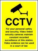 For your personal safety and security, Video linked security cameras maintain constant recorded surveillance of this station. Video evidence can be used in a court of law. Sign