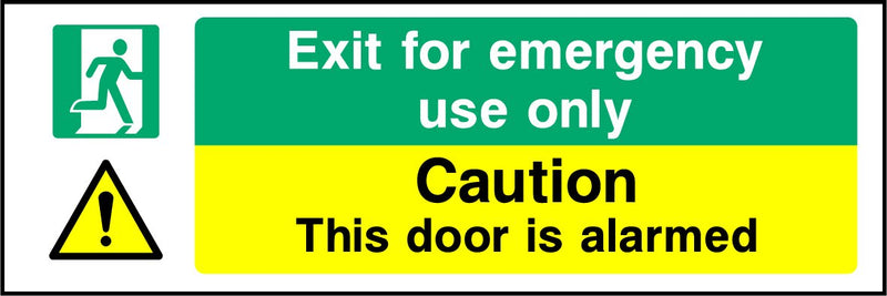 Exit for emergency use only. Caution. This door is alarmed. Sign