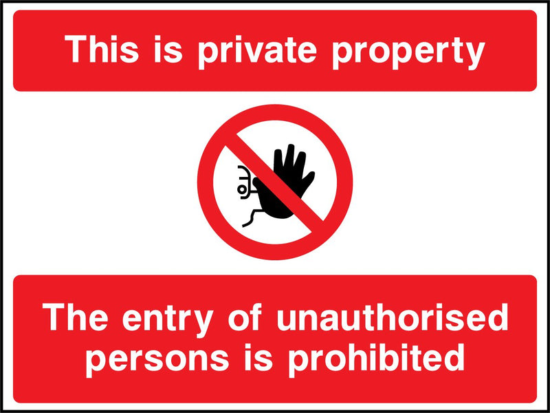 This is private property. The entry of unauthorised persons is prohibited. Sign