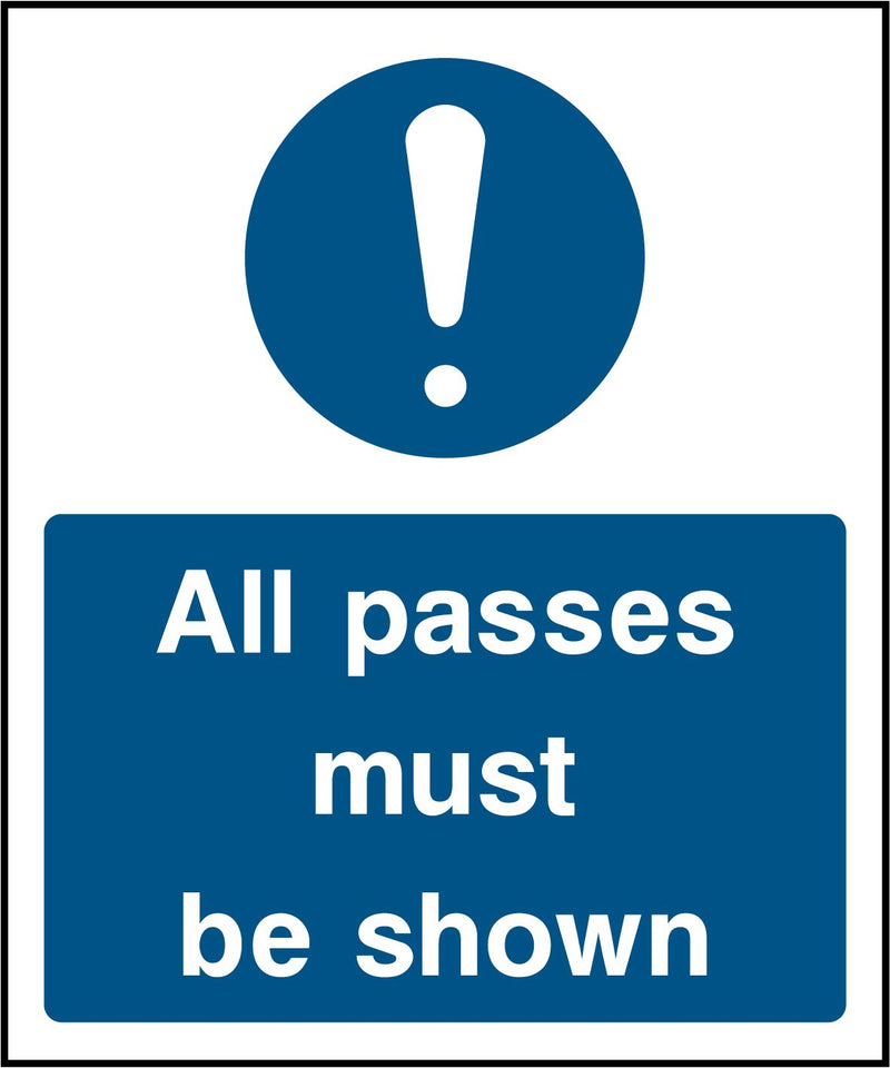 All passes must be shown. Sign