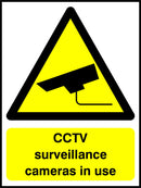 CCTV surveillance cameras in use. Sign