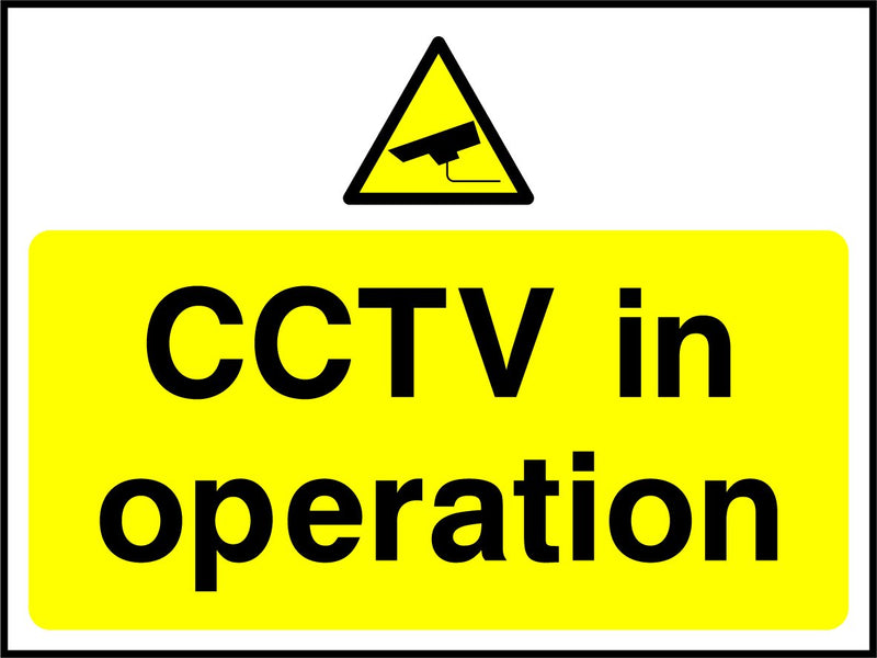 CCTV in operation. Sign