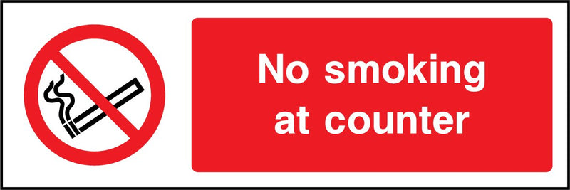 No smoking at counter. Sign