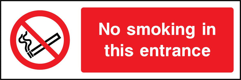 No smoking in this entrance. Sign