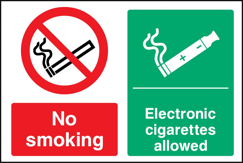No smoking. Electronic cigarettes allowed. Sign