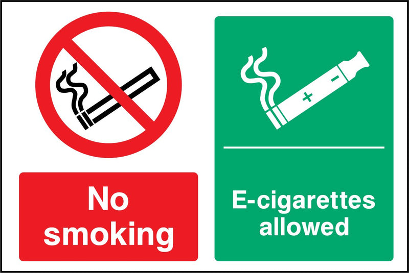 No smoking. E-cigarettes allowed. Sign