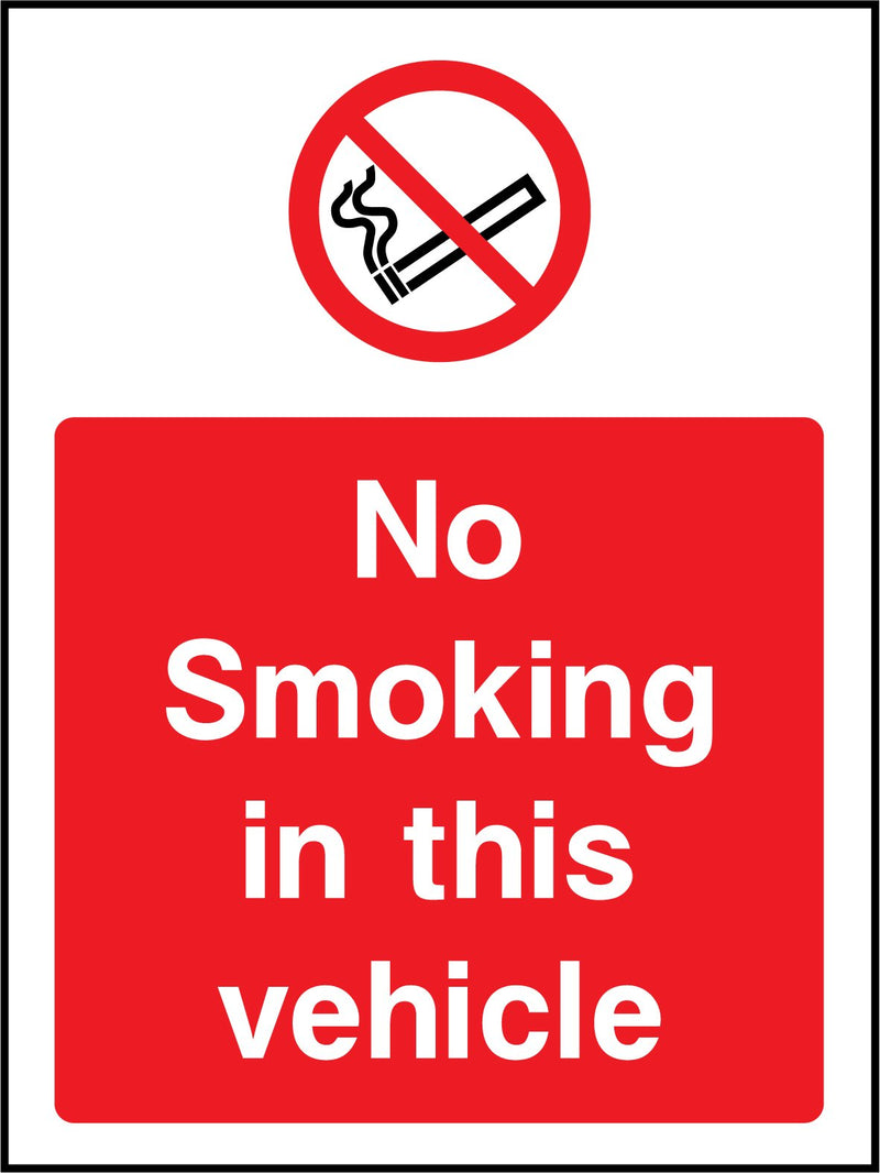 No smoking in this vehicle. Sign