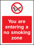 You are entering a no smoking zone. Sign