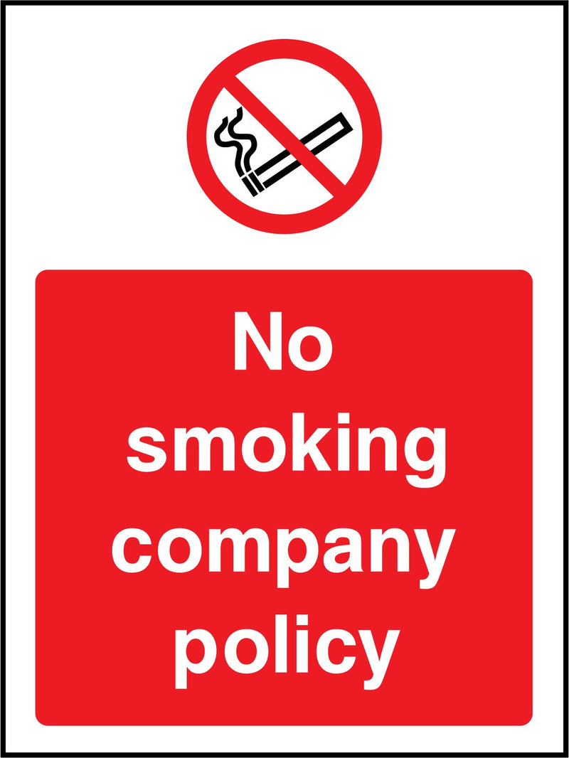 No smoking. Company policy. Sign