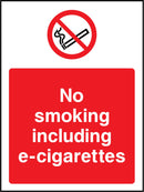 No smoking including e-cigarettes. Sign