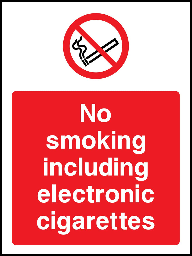 No smoking including electronic cigarettes. Sign