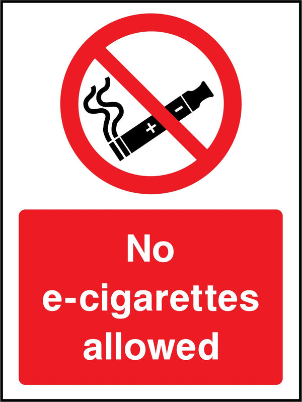 No e-cigarettes allowed. Sign