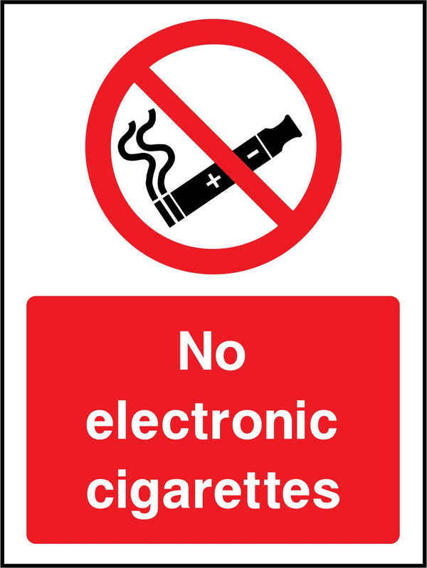 No electronic cigarrettes. Sign