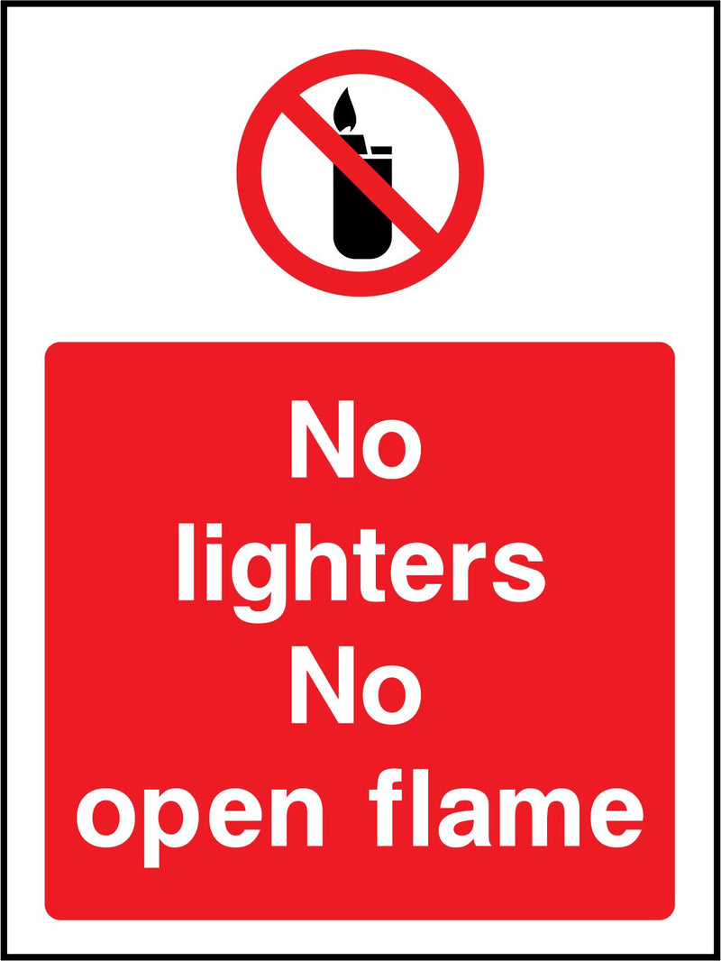 No lighters. No open flame. Sign